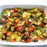 Keptos daržovės su varškės sūriu ir šonine